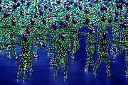 8/8/08 8:47:14 PM -- The 2008 Beijing Summer Olympics -- Beijing, China<br />  -- Opening Ceremonies for the Beijing Olympic Summer Games -- <br /> Performers covered with light emitting diodes moved about the floor at the beginning of opening ceremonies at Beijing National Stadium.<br /> <br /> Photo by Jeff Swinger, USA TODAY Staff
