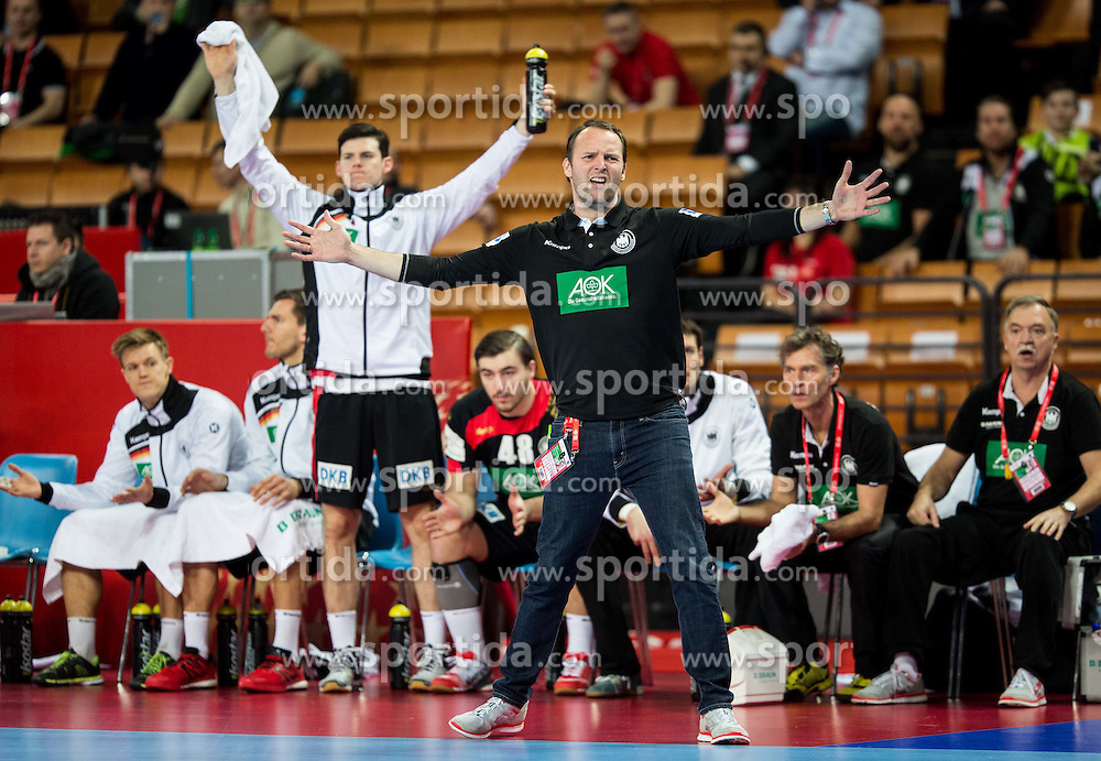 Dagur Valdimar Sigurdsson, head coach of Germany during handball match between National teams of Germany and Slovenia on Day 6 in Preliminary Round of Men's EHF EURO 2016, on January 20, 2016 in Centennial Hall, Wroclaw, Poland. Photo by Vid Ponikvar / Sportida