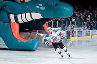 KELOWNA, CANADA, FEBRUARY 8: Tyrell Goulbourne #12 of the Kelowna Rockets enters the ice as the Seattle Thunderbirds visit the Kelowna Rockets on February 8, 2012 at Prospera Place in Kelowna, British Columbia, Canada (Photo by Marissa Baecker/www.shootthebreeze.ca) *** Local Caption ***