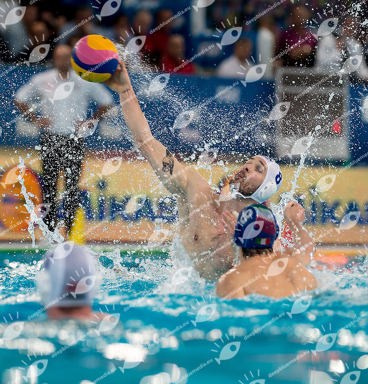 8 Marton SZIVOS HUN <br /> FINA Men's Water polo Olympic Games Qualifications Tournament 2016<br /> Final 1st place<br /> Hungary HUN (White) Vs Italy ITA (Blue)<br /> Trieste, Italy - Swimming Pool Bruno Bianchi<br /> Day 08  10-04-2016<br /> Photo G.Scala/Insidefoto/Deepbluemedia