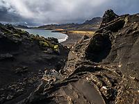 Sand stone formations at Lake Kleifarvatn, Reykjanes Peninsula, Iceland.