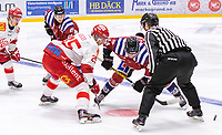 2020-01-19 | Umeå, Sweden:Referee drops the puck in  AllEttan during the game  between Teg and Vallentuna at A3 Arena ( Photo by: Michael Lundström | Swe Press Photo )<br /> <br /> Keywords: Umeå, Hockey, AllEttan, A3 Arena, Teg, Vallentuna, mltv200119