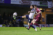 David Worrall of Southend United under pressure from Andrew Bond of Stevenage during the Sky Bet League 2 match at Roots Hall, Southend<br /> Picture by David Horn/Focus Images Ltd +44 7545 970036<br /> 14/05/2015