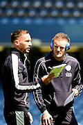 Leicester City Forward Jamie Vardy talks tactics before the Barclays Premier League match between Chelsea and Leicester City at Stamford Bridge, London, England on 15 May 2016. Photo by Jon Bromley.