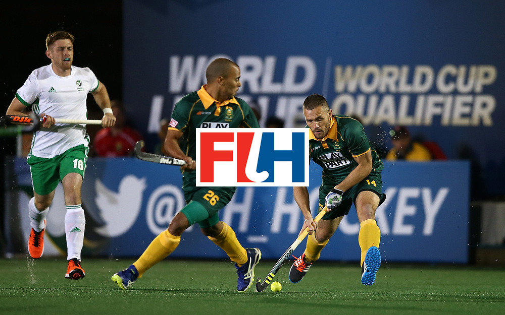 JOHANNESBURG, SOUTH AFRICA - JULY 09:  Rhett Halkett of South Africa controls the ball during day 1 of the FIH Hockey World League Semi Finals Pool B match between South Africa and Ireland at Wits University on July 9, 2017 in Johannesburg, South Africa.  (Photo by Jan Kruger/Getty Images for FIH)