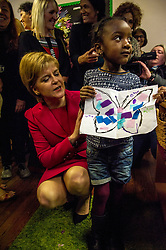 Pictured: Nicola Sturgeon, MSP, meets four year old Nosim Mwiki who had made a magic butterfly picture for the First Minister<br /> <br /> Nicola Sturgeon, MSP, paid a visit today to Shakti Women's Aid in Edinburgh today to campaign against the Rape Clause. <br /> Ger Harley | EEm 25 April 2017