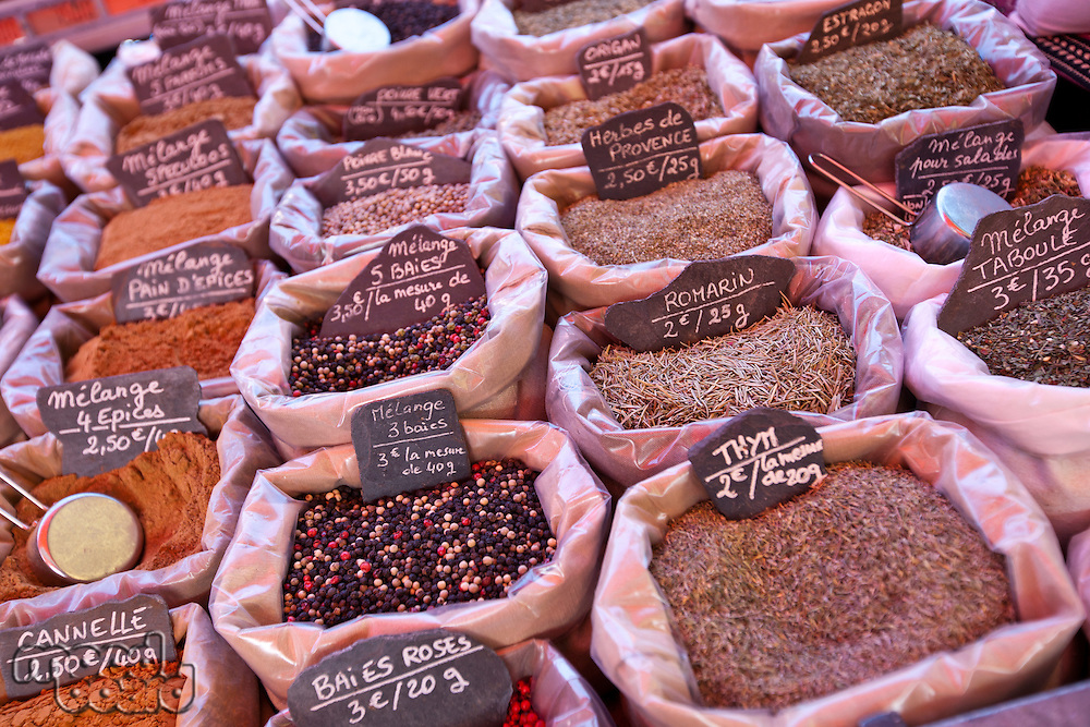 Variety of spices on display in store