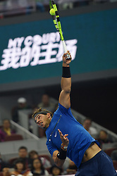 BEIJING, Oct. 7, 2017  Rafael Nadal of Spain serves during the men's singles semifinal match against Grigor Dimitrov of Bulgaria at the China Open tennis tournament in Beijing on Oct. 7, 2017. Rafael Nadal won 2-1.  wll) (Credit Image: © Ju Huanzong/Xinhua via ZUMA Wire)