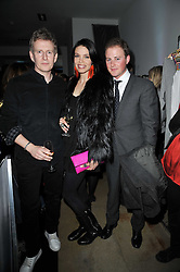 Left to right, PATRICK KIELTY, ALIZEE GAILLARD and GUY PELLY at a party to launch pop-up store Oxygen Boutique, 33 Duke of York Square, London SW3 on 8th February 2011.