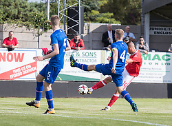 RHYL, WALES - Saturday, September 2, 2017: Wales' Brandon Cooper gets a shot at goal during an Under-19 international friendly match between Wales and Iceland at Belle Vue. (Pic by Gavin Trafford/Propaganda)