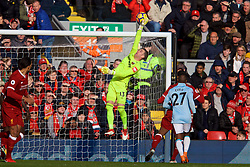 LIVERPOOL, ENGLAND - Saturday, February 24, 2018: West Ham United's goalkeeper Adrian San Miguel del Castillo makes a save during the FA Premier League match between Liverpool FC and West Ham United FC at Anfield. (Pic by David Rawcliffe/Propaganda)