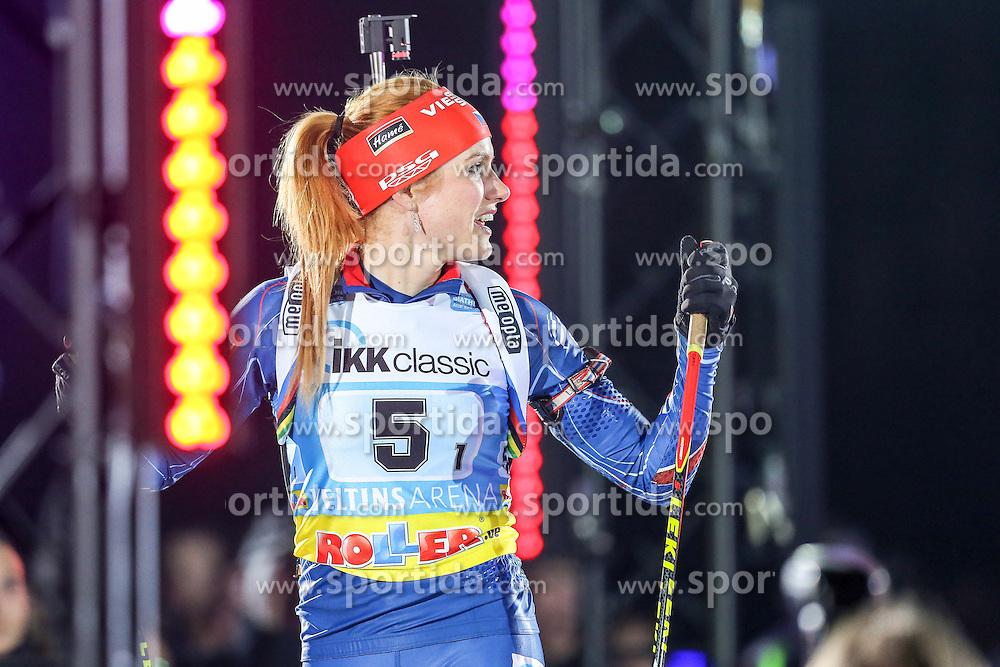 28.12.2015, Veltins Arena, Gelsenkirchen, GER, IBU Weltcup Biathlon, auf Schalke, im Bild Gabriela Soukalova (Tschechien/CZ) // during the IBU Biathlon World Cup at Veltins Arena in Gelsenkirchen, Germany on 2015/12/28. EXPA Pictures &copy; 2015, PhotoCredit: EXPA/ Eibner-Pressefoto/ Kohring<br /> <br /> *****ATTENTION - OUT of GER*****