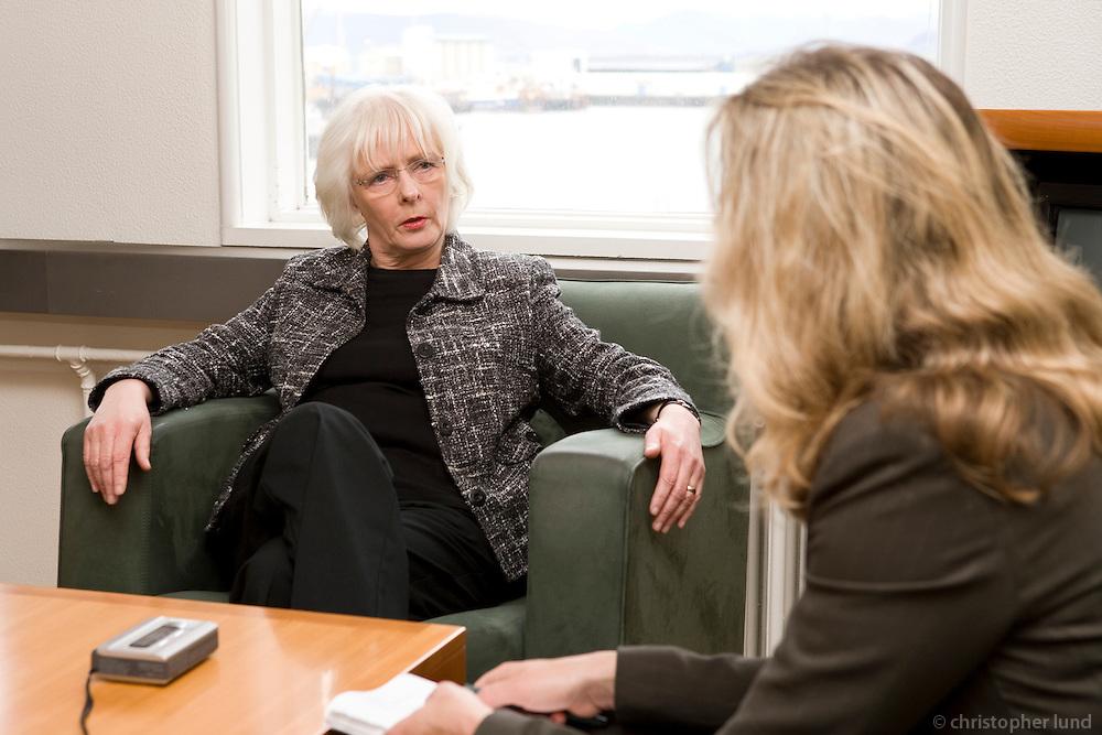 Annette Bruhns interviewing Jóhanna Sigurðardóttir (64), Social Minister of Iceland at her office.