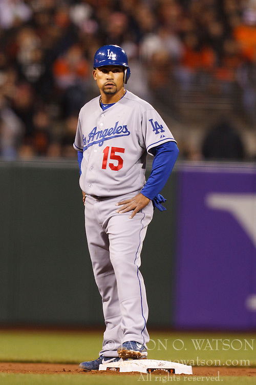 April 11, 2011; San Francisco, CA, USA;  Los Angeles Dodgers shortstop Rafael Furcal (15) stands on second base against the San Francisco Giants during the fifth inning at AT&T Park.  Los Angeles defeated San Francisco 6-1.