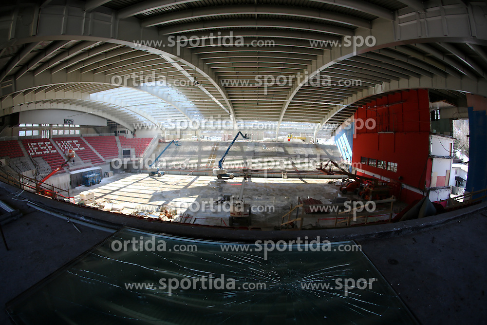 Reconstruction of Arena Podmezakla in Jesenice few months before FIBA EuroBasket 2013 at Podmezalka Hall, on March 16, 2013, in Jesenice, Slovenia. (Photo by Matic Klansek Velej / Sportida)