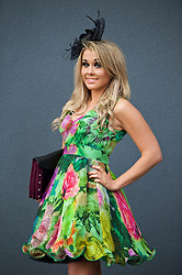 LIVERPOOL, ENGLAND - Friday, April 4, 2014: Rebecca Bailey from Ormskirk wearing Ted Baker during Ladies' Day on Day Two of the Aintree Grand National Festival at Aintree Racecourse. (Pic by David Rawcliffe/Propaganda)