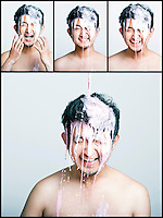 Collage of pink paint falling on man