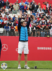 Europe's Niall Horan acknowledges the crowd during a celebrity golf match ahead of the 41st Ryder Cup at Hazeltine National Golf Club in Chaska, Minnesota, USA.