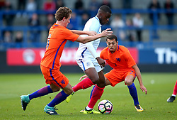 Stephen Mavididi of England Under 20s goes past Leon Bergsma of Netherlands Under 20s - Mandatory by-line: Robbie Stephenson/JMP - 31/08/2017 - FOOTBALL - Telford AFC - Telford, United Kingdom - England v The Netherlands - International Friendly