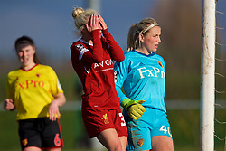 LIVERPOOL, ENGLAND - Sunday, February 4, 2018: Liverpool's Ashley Hodson looks dejected after missing a chance during the Women's FA Cup 4th Round match between Liverpool FC Ladies and Watford FC Ladies at Walton Hall Park. (Pic by David Rawcliffe/Propaganda)