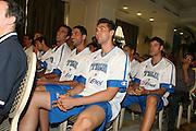 Milano, 18/07/2007<br /> Basket, Nazionale Italiana Maschile Senior<br /> Media Day Conferenza Stampa Hotel Visconti<br /> Nella foto: Andrea Bargnani matteo soragna angelo gigli<br /> Foto Ciamillo