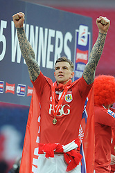 Bristol City's Aden Flint celebrates - Photo mandatory by-line: Dougie Allward/JMP - Mobile: 07966 386802 - 22/03/2015 - SPORT - Football - London - Wembley Stadium - Bristol City v Walsall - Johnstone Paint Trophy Final