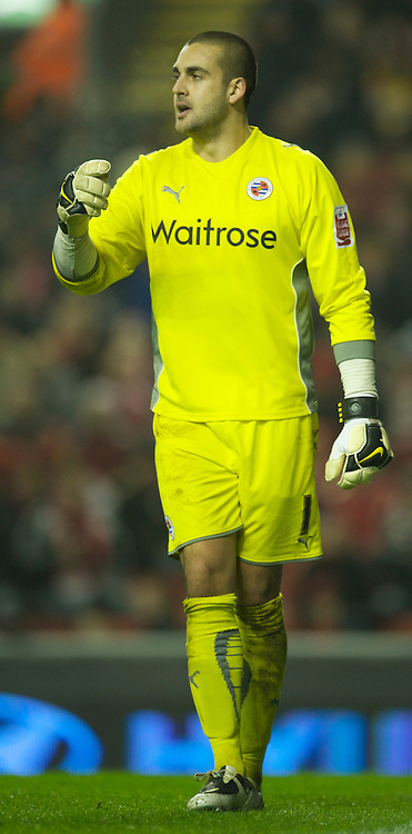 LIVERPOOL, ENGLAND - Wednesday, January 13, 2010: Reading's Adam Federici in action against Liverpool during the FA Cup 3rd Round replay match at Anfield. (Photo by: David Rawcliffe/Propaganda)