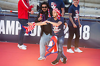 Atletico de Madrid Koke Resurreccion and Mono Burgos celebrating Europa League Championship at Neptune Fountain in Madrid, Spain. May 18, 2018. (ALTERPHOTOS/Borja B.Hojas)