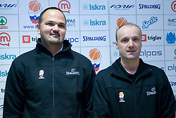 Mario Kraljevic and Jure Zdovc at press conference when announced that Zdovc is a new Slovenian Head coach of Basketball National team, on November 25, 2008 in City Hotel, Ljubljana, Slovenia.  (Photo by Vid Ponikvar / Sportida)