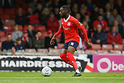Adriano Moke of York City (6) looks to pass the ball during the Vanarama National League match between York City and Kidderminster Harriers at Bootham Crescent, York, England on 15 September 2018.