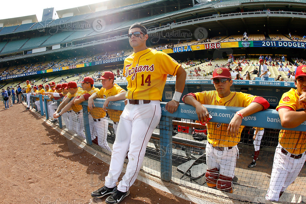 13 March 2011: NCAA Pac-10 college UCLA-USC sports rivalry baseball teams met in a non-conference game at Dodger Stadium as part of the Dodgertown Classic.  USC Trojans defeated the UCLA Bruins 2-0 during an afternoon weekend game inside the MLB stadium. #14 Brandon Garcia.