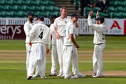 Rikki Clarke of Warwickdhire celebrates after bowling out Tom Cooper of Somerset for 43 - Mandatory byline: Rogan Thomson/JMP - 07966 386802 - 22/09/2015 - CRICKET - The County Ground - Taunton, England - Somerset v Warwickshire - Day 1 - LV= County Championship Division One.