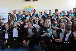 October 8, 2018 - Ternopil, Ukraine - Students wave blue and yellow ribbons during the opening of the social and sports school for vulnerable children of the Real Madrid Foundation, Ternopil, western Ukraine, October 8, 2018. Ukrinform. (Credit Image: © Dmytro Stakhovskyi/Ukrinform via ZUMA Wire)