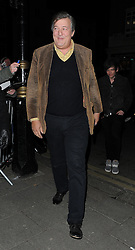 Stephen Fry and Elliot Spencer attend the Weinstein & Grey Goose pre-BAFTAs Dinner at Little House Member's Club in Mayfair, London, UK. 06/02/2015<br /> BYLINE MUST READ : GOTCHAIMAGES.COM<br /> <br /> Copyright by © Gotcha Images Ltd. All rights reserved.<br /> Usage of this image is conditional upon the acceptance <br /> of Gotcha Images Ltd, terms and conditions available at<br /> www.gotchaimages.com