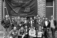 AEUW Construction Section members on the People's  March for Jobs, Yorkshire to London. Market Harborough 18/05/1981