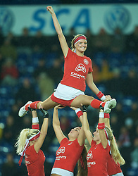 COPENHAGEN, DENMARK - Wednesday, November 19, 2008: A Danish cheerleaders before Denmark's international friendly match against Wales at the Brøndby Stadium. (Photo by David Rawcliffe/Propaganda)