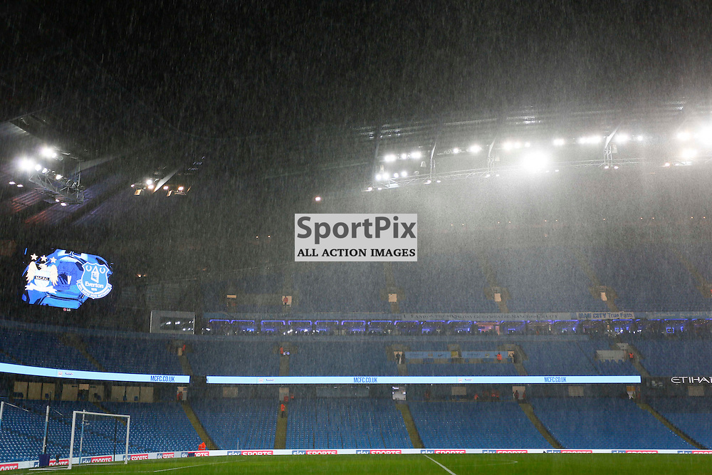 Heavy rain and hail before Manchester City vs Everton, Captial One Cup, Wednesday 27th January 2016, Etihad Stadium, Manchester