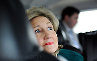 HOUSTON, TX - FEBRUARY 08:  The Senator and her staff drive to a campaign stop...  Senior Senator and candidate for Texas governor, Kay Bailey Hutchison,  campaigns through Texas in a close race against Governor Rick Perry for the republican nomination, February 08, 2010 in Houston, Texas. (Photo by Melina Mara/The Washington Post)..
