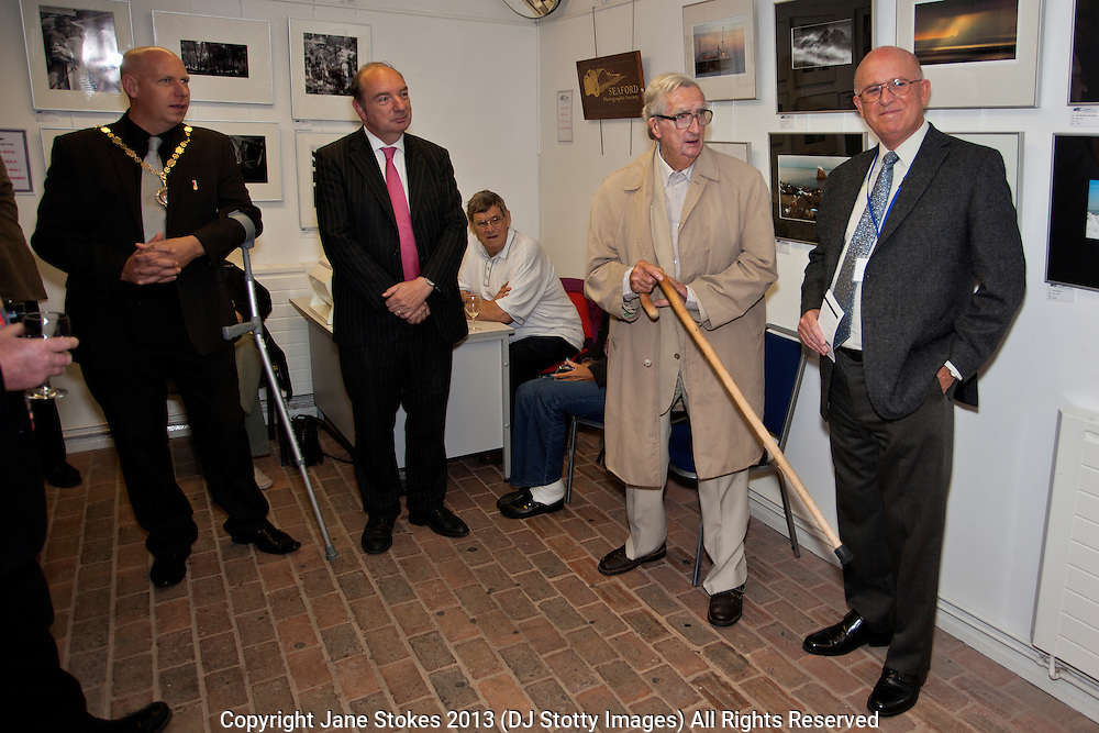 Denis Healey, President of the Seaford Photographic Society<br /> <br /> Seaford Photographic Society 2013 Exhibition opening in the Crypt Gallery in Seaford East Sussex by the President;  The Right Honourable The Lord Denis Healey former Deputy Leader of the Labour Party. Free entry and open 1000-1700 from 21 September to 6 October 2013
