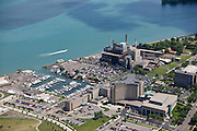 Power Plant and Marina on the Detroit River, south of downtown Detroit in Wyandotte