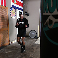 "WINTER HAVEN, FL - MAY 05: Boxer Willie Monroe Jr. jumps rope as he works out at the Winter Haven Boxing Gym on May 5, 2015 in Winter Haven, Florida. Monroe will challenge middleweight world champion Gennady ""GGG"" Golovkin for the WBA world championship title in Los Angeles on May 16.  (Photo by Alex Menendez/Getty Images) *** Local Caption *** Willie Monroe Jr."