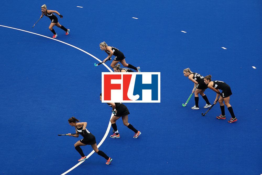 RIO DE JANEIRO, BRAZIL - AUGUST 12:  Team New Zealand line up for a penalty against Netherlands during a Women's Preliminary Pool A match on Day 7 of the Rio 2016 Olympic Games at the Olympic Hockey Centre on August 12, 2016 in Rio de Janeiro, Brazil.  (Photo by Sean M. Haffey/Getty Images)