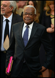 Sir Trevor McDonald leaves  Westminster Abbey after the service to celebrate the life and work of Sir David Frost, Westminster Abbey, London, United Kingdom. Thursday, 13th March 2014. Picture by Andrew Parsons / i-Images