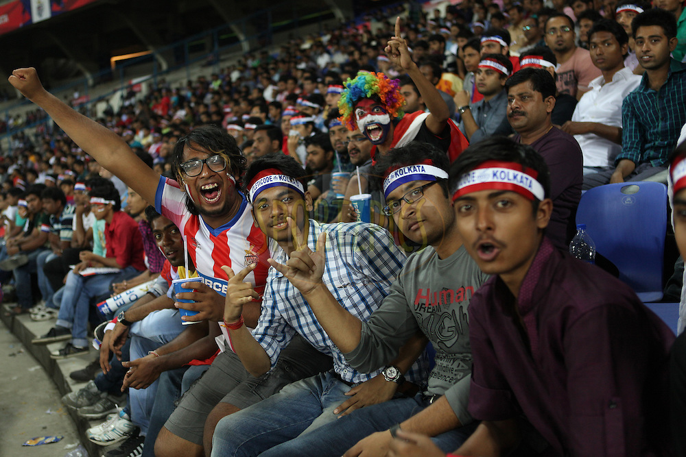 Fans during match 13 of the Hero Indian Super League between Atl&eacute;tico de Kolkata and Kerala Blasters FC held at the Salt Lake Stadium in Kolkata, West Bengal, India on the 26th October 2014.<br /> <br /> Photo by:  Saikat Das/ ISL/ SPORTZPICS