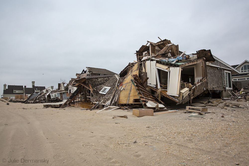 April 23, 2013, Mantoloking New Jersey, devastated by Superstorm Sandy, remains a disaster zone sixth months after the storm. The process of removing totaled homes started recently and will pick up in early May as more permits for demolition are issued.