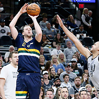 02 April 2017: Utah Jazz forward Joe Ingles (2) takes a jump shot over San Antonio Spurs guard Kyle Anderson (1) during the San Antonio Spurs 109-103 victory over the Utah Jazz, at the AT&T Center, San Antonio, Texas, USA.