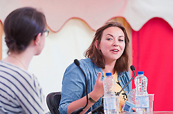 © Licensed to London News Pictures. 21/06/2014. Llandeilo, UK. Charlotte Church (R) in conversation with Kat Banyard (L) - author of Equality Illusion and founder of UK feminista - at the 2014 Dinefwr Literature Festival. Photo credit : Graham M. Lawrence/LNP