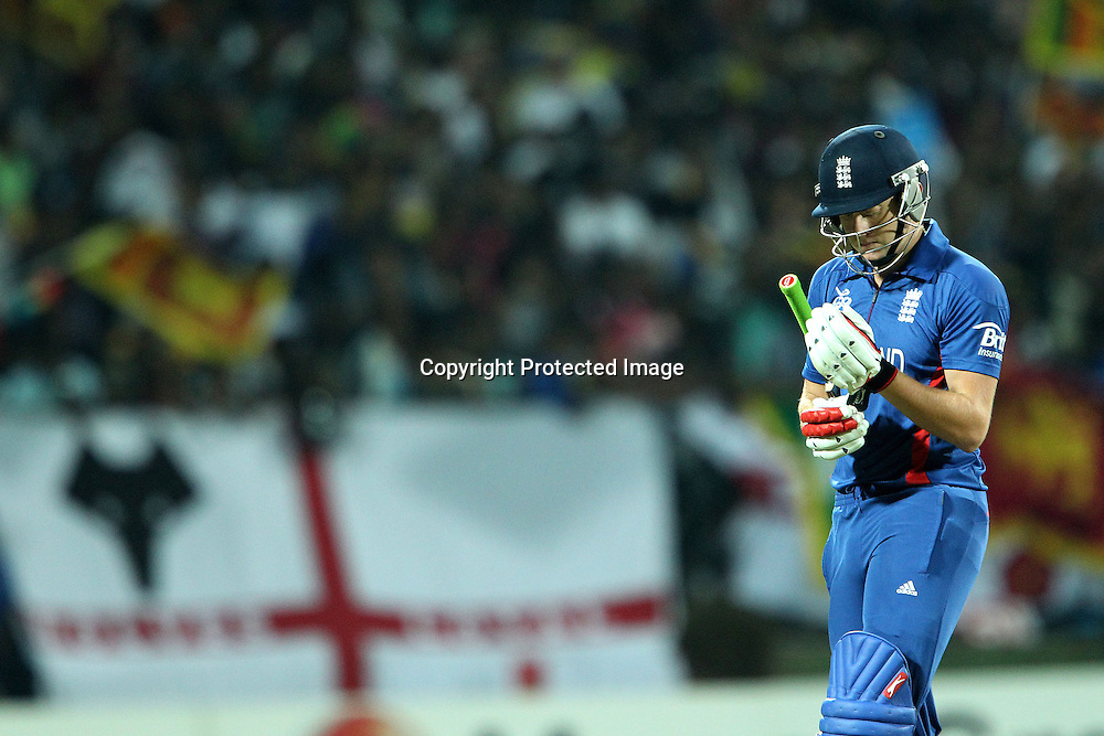 Jonny Bairstow of England departs during the ICC World Twenty20 Super Eights match between England and Sri Lanka held at the  Pallekele Stadium in Kandy, Sri Lanka on the 1st October 2012<br /> <br /> Photo by Ron Gaunt/SPORTZPICS