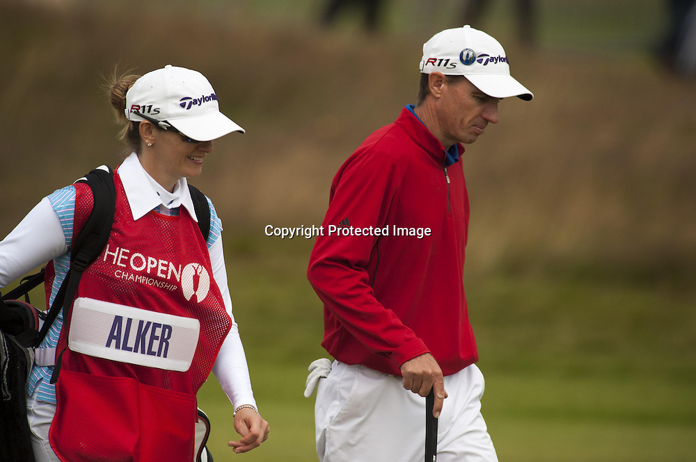 19-07-2012 European Tour 2012, THE 141st OPEN Championship, Royal Lytham & St. Annes GC, Lytham St. Annes, Lancashire, England, UK. 15- 22 Jul. Steven  Alker of New Zealand with wife Tanja as caddie during the first round.