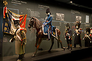 Exhibits inside the Memorial 1815 exhibition at the Waterloo battlefield, on 25th March 2017, at Waterloo, Belgium. Inaugurated on the battle's bicentenary, visitors experience the history of Napoleonic Europe and the armies of both the French and allied armies on that day. The Battle of Waterloo was fought 18 June 1815. A French army under Napoleon Bonaparte was defeated by two of the armies of the Seventh Coalition: an Anglo-led Allied army under the command of the Duke of Wellington, and a Prussian army under the command of Gebhard Leberecht von Blücher, resulting in 41,000 casualties.